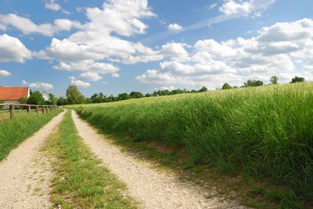 Lonely country path in Bavaria with a farm.