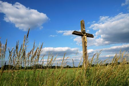 Country cross in a bavarian landscape. photo
