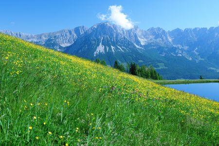 Mountain landscape in the Wilder Kaiser region of Austria.