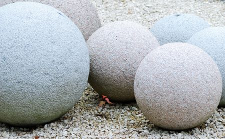 Stone balls with different size and color. photo