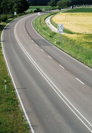 transportaion: Multilane road seen somewhere in Germany. Stock Photo