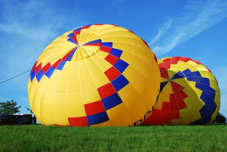 Filling up hot air balloons. photo