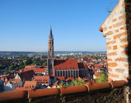 View over Landshut (Germany) from the Trausnitz castle. Standard-Bild