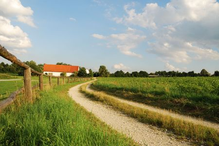 Landscape in Bavaria with a farm and a paddock. Stock Photo