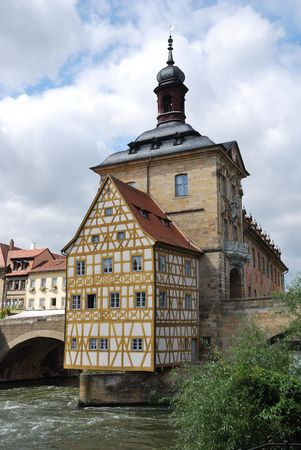 rathaus: Altes Rathaus (Old town hall) in Bamberg (Germany, Bavaria) at the river Regnitz.