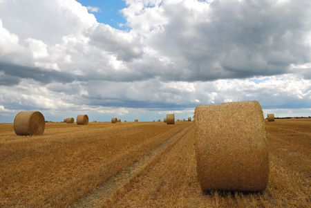 Bavarian landscape with bales of straw photo