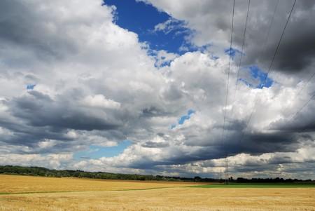 powerline: Landscape in Bavaria, cloudscape and powerline.