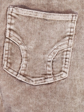 trouser: Trouser pocket of brown corduroys. Stock Photo