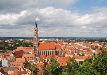 martin: Landshut city panorama with the church St. Martin Stock Photo