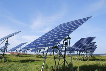 electric energy: Alternative energy with a field of solar panel field