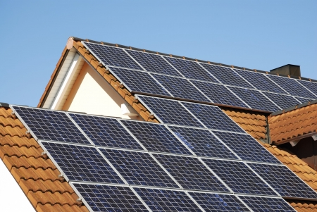 Alternative energy with solar panels photo