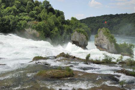 Rhine Falls (Rheinfall) at Schaffhausen in Switzerland.
