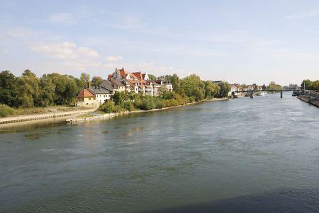 regensburg: The Danube river in Regensburg
