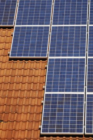 Photovoltaic cells on a tiled roof.