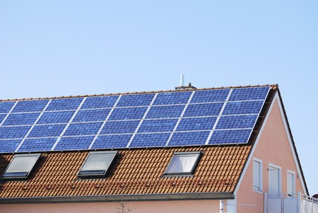House roof covered with solar panels Stock Photo - 7001405