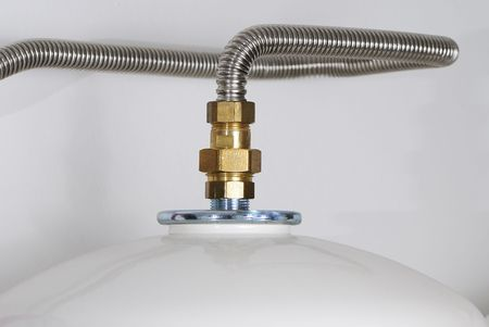 boiling tube: Boiler of a solar heating system Stock Photo
