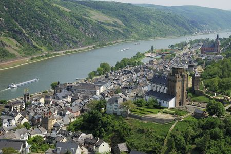 Village St. Goar at the river Rhine (Germany)