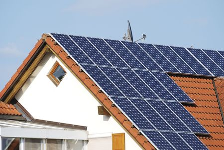 Alternative energy at a residential house photo