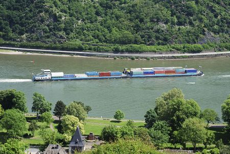 transportaion: Transport ship on the river Rhine.