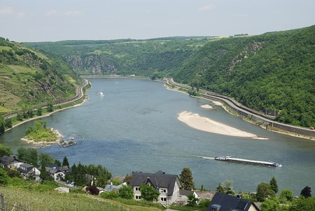 transportaion: Rhine Gorge at the Middle Rhine Stock Photo