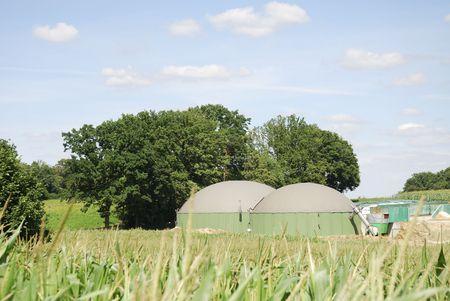 agrar: Renewable energy with biogas production Stock Photo