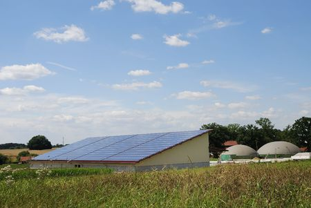 Green energy with photovoltaic and biogas photo