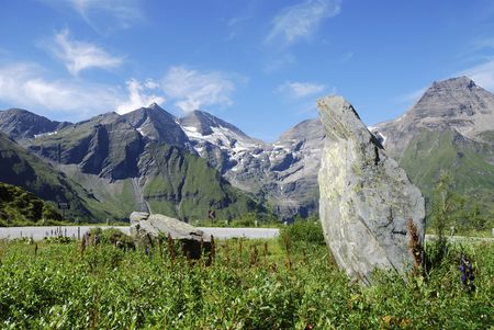 Mountain view in Austria at the Grossglockner Hochalpenstrasse (high alpine road). photo
