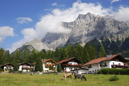 Alpine village of Ehrwald below mount Zugspitze photo