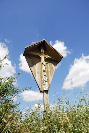 coutryside: Wooden religious cross in the coutryside Stock Photo