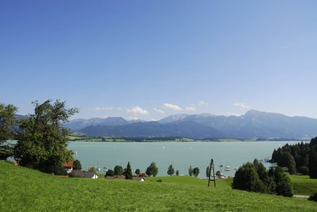 Lake Forggensee in the alps at Füssen (Bavaria, Germany) photo