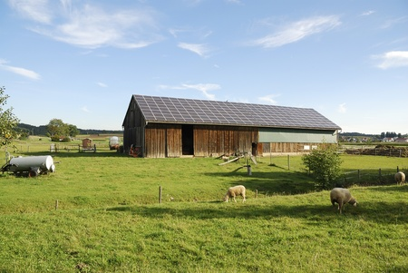 photovoltaic: Old barn with photovoltaic on the roof