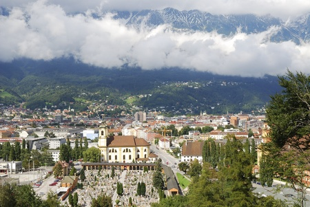 View over Innsbruck and the Karwendel mountains (Austria) photo