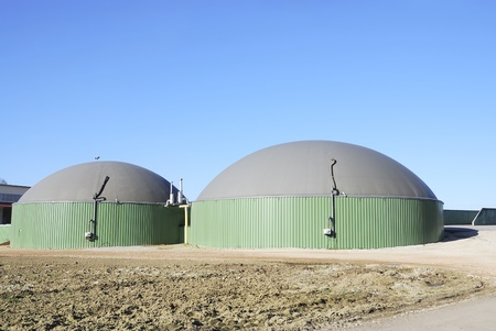 bioenergy: Renewable energy with biogas production Stock Photo