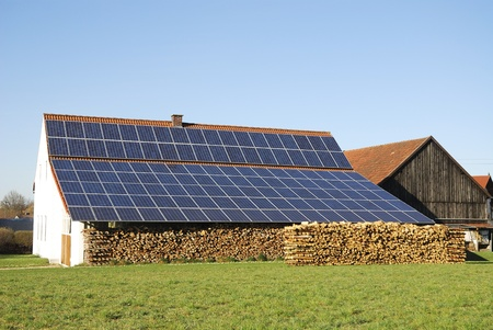 Old farm house with innovative photovoltaic installation