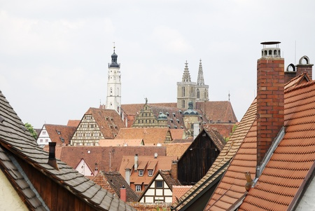 mediaval: View over the mediaval town Rothenburg ob der Tauber (Germany)