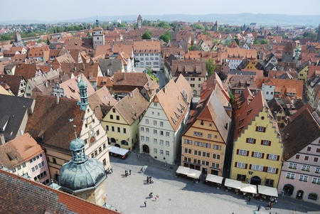 View over the mediaval town Rothenburg ob der Tauber (Germany)