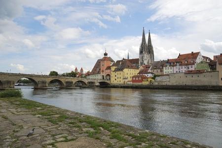 Riverside of the Danube river in Regensburg (Germany) photo