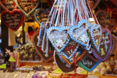 MUNICH, GERMANY - October 3: Gingerbread herats sold on the Oktoberfest in Munich, Germany on October 3, 2011. The Oktoberfest is the biggest beer festival of the world with over 6 million visitors each year.