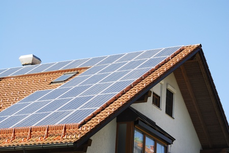 Photovoltaic on the roof of a house photo