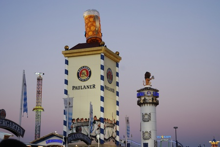 MUNICH, GERMANY - October 3: Beer tents from Paulaner and Loewenbraeu on the Oktoberfest in Munich, Germany on October 3, 2011. The Oktoberfest is the biggest beer festival of the world with over 6 million visitors each year.