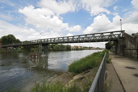 regensburg: Steel bridge over the river Danube in Regensburg (Germany)