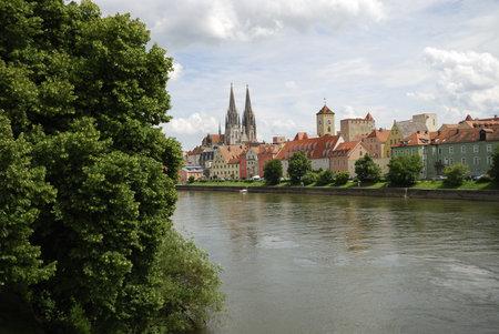 Riverside of the Danube river in Regensburg (Germany) Stock Photo - 11828151