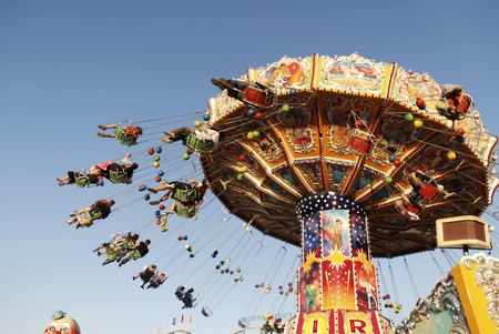 chairoplane: MUNICH, GERMANY - October 3: Chairoplane on the Oktoberfest in Munich, Germany on October 3, 2011. The Oktoberfest is the biggest beer festival of the world with over 6 million visitors each year.