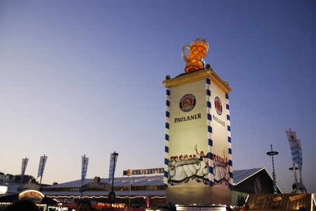 MUNICH, GERMANY - October 3: Beer tent from Paulaner on the Oktoberfest in Munich, Germany on October 3, 2011. The Oktoberfest is the biggest beer festival of the world with over 6 million visitors each year.