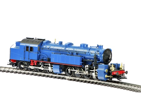 railtrack: Isolated toy steam locomotive with a coal trailer Stock Photo