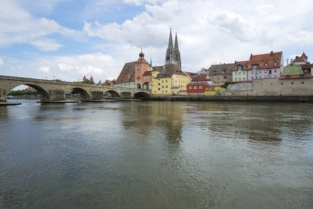 Riverside of the Danube river in Regensburg (Germany) photo