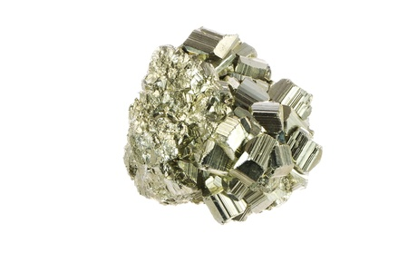 pyrite: Macro of an isolated iron pyrite mineral Stock Photo