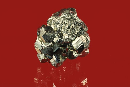 pyrite: Macro of an iron pyrite mineral