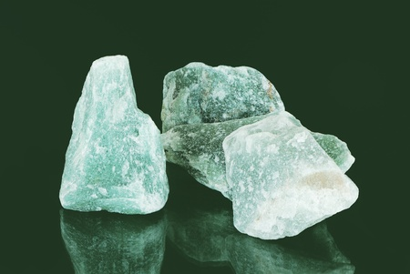 Three green aventurine mineral stones photo