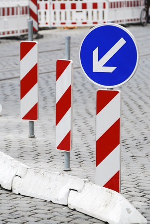 detour: Road construction site with barricades and detour Stock Photo